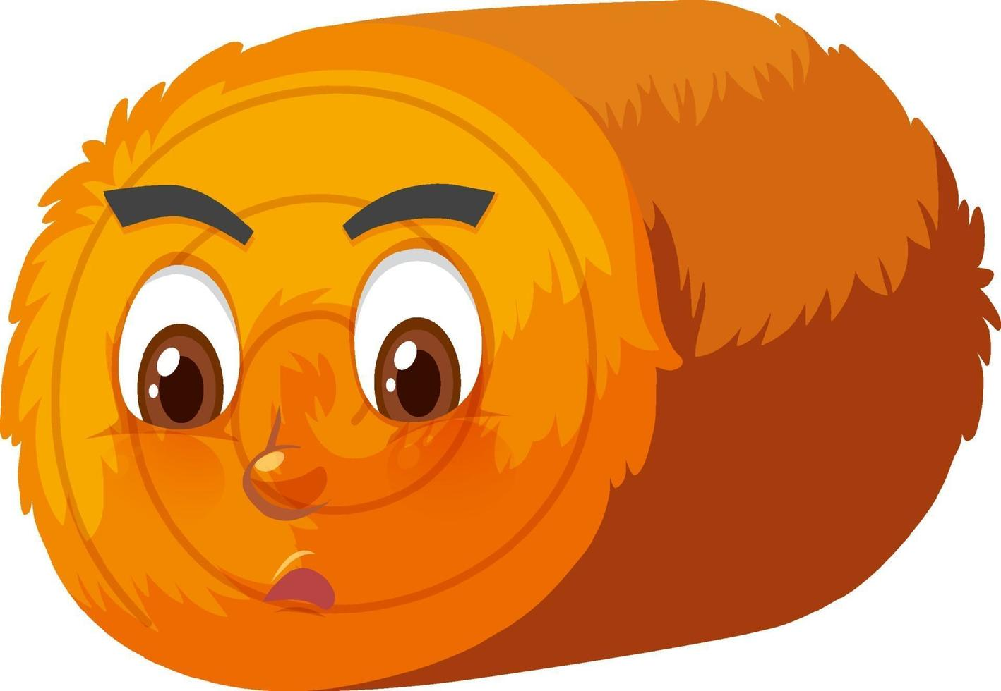 Round hay bale cartoon character with facial expression vector