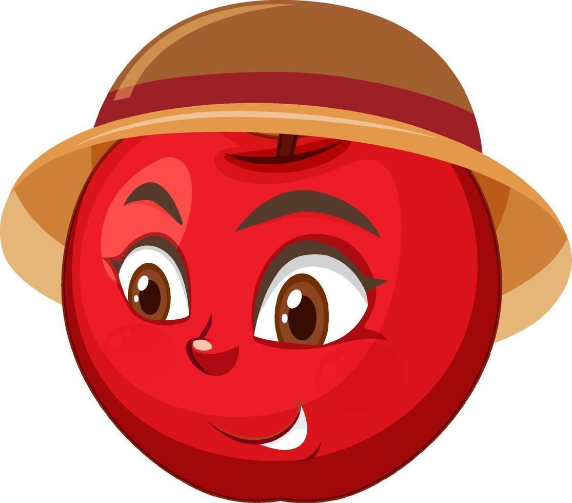 personaje de dibujos animados de manzana con expresión facial vector