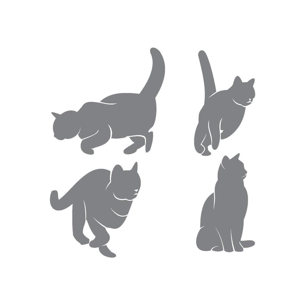 Cat Silhouette Template Set vector