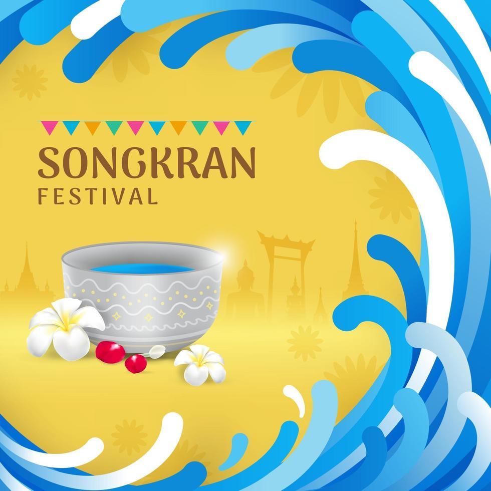 Songkran water festival celebration banner vector