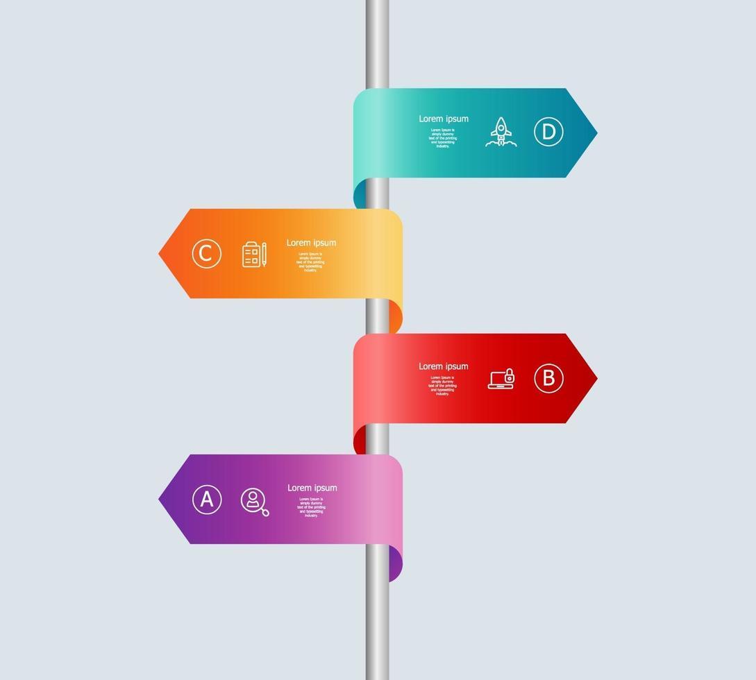 Infografía de línea de tiempo vertical abstracta 4 pasos para negocios y presentación vector