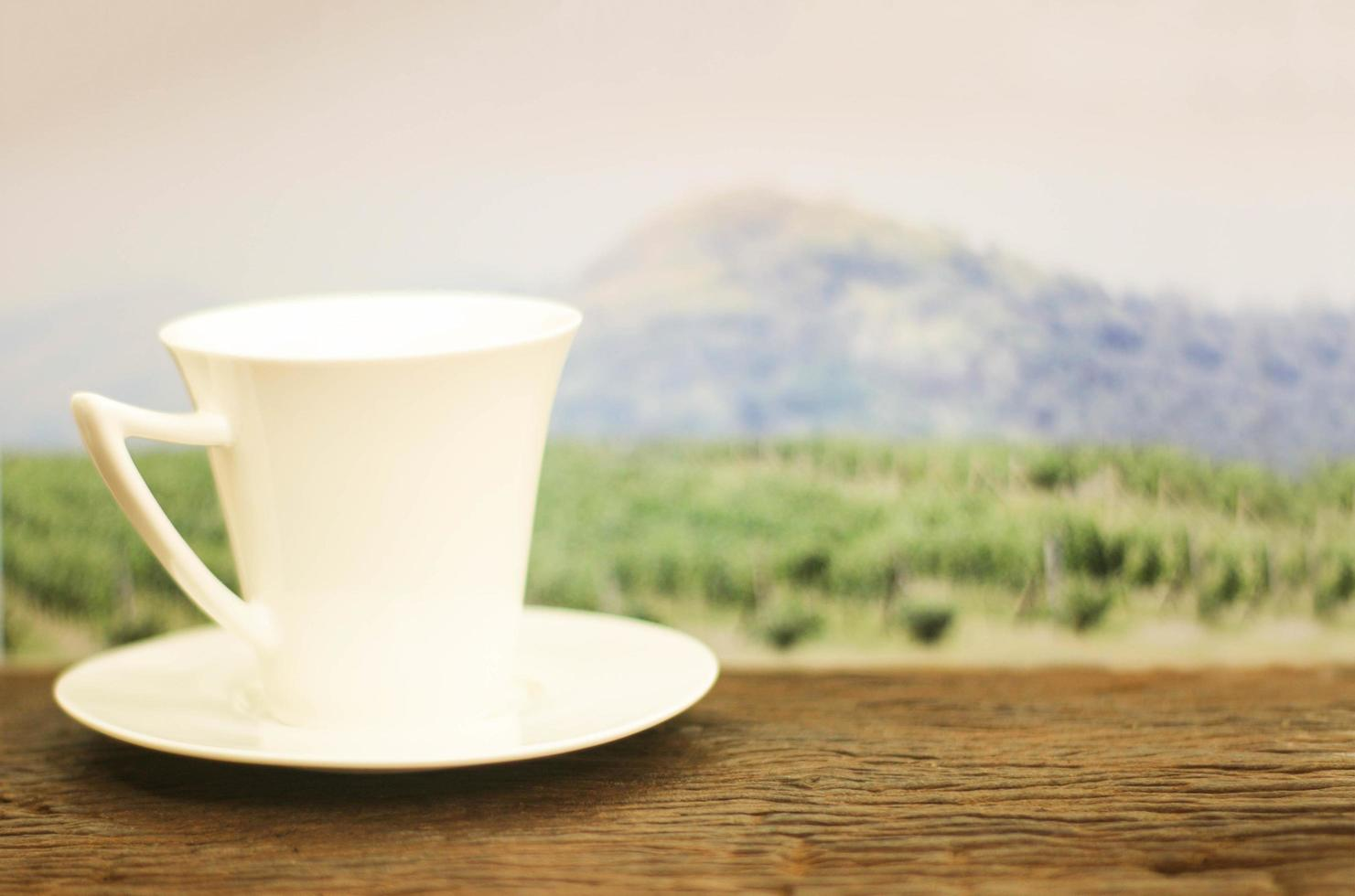 White coffee cup in front of field photo