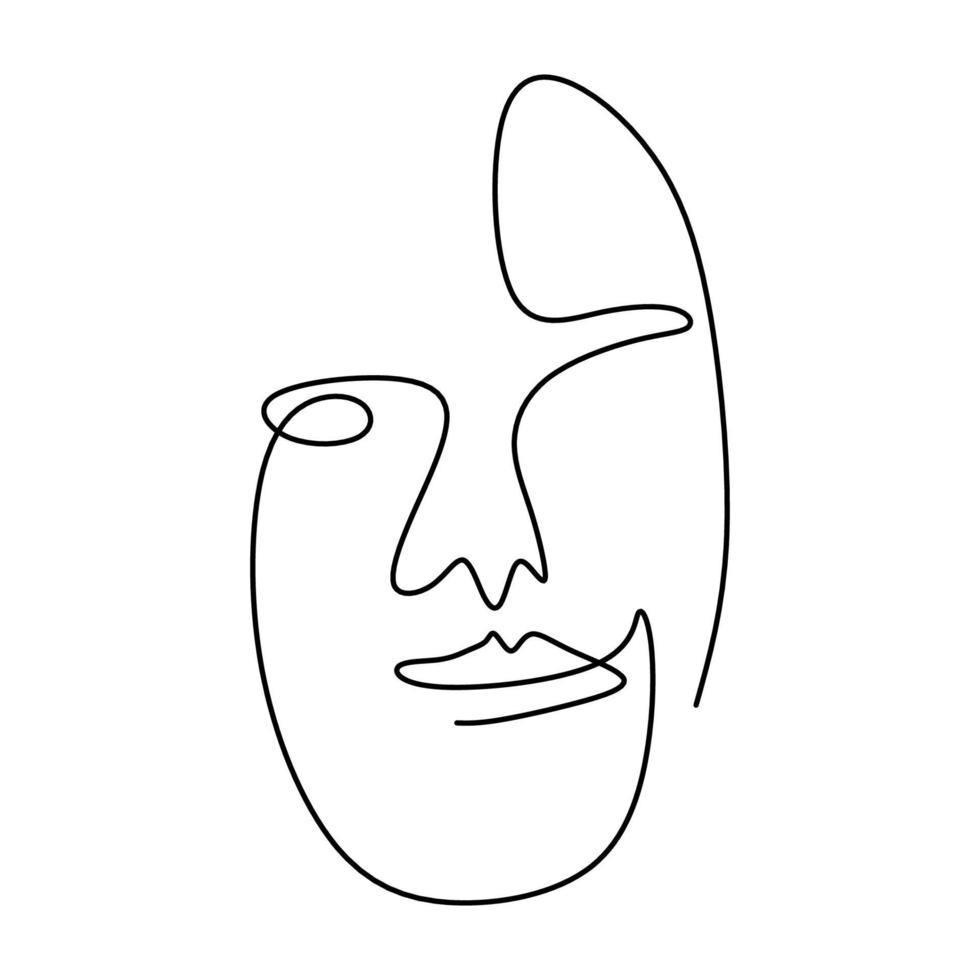 One continuous line drawing of abstract face of human. Modern continuous line art man and woman minimalist contour. vector