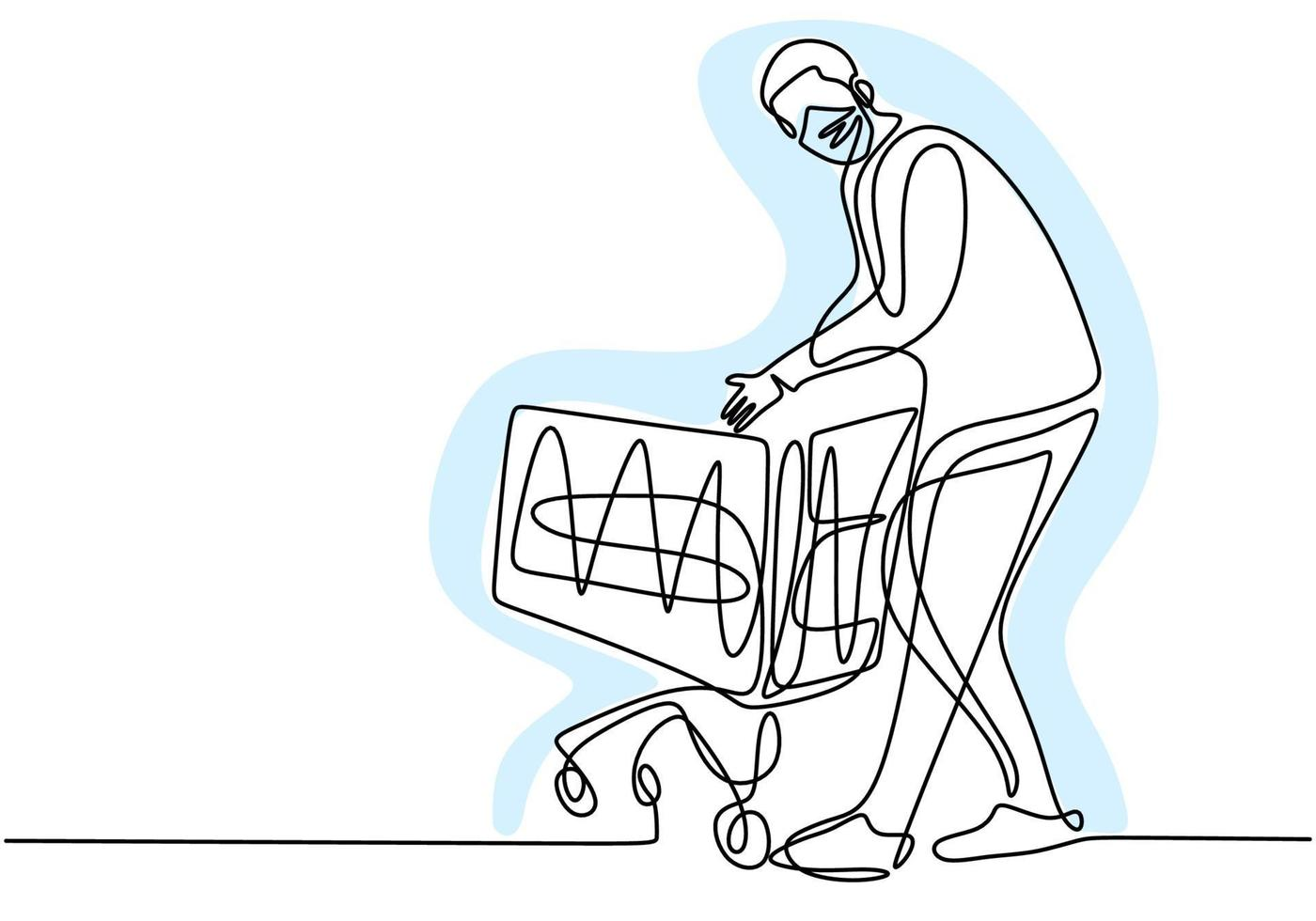 Continuous one line drawing of man holding shopping trolley. Young male standing while buying food in supermarket with protecting face mask so as not to spread COVID19. New normal transition vector