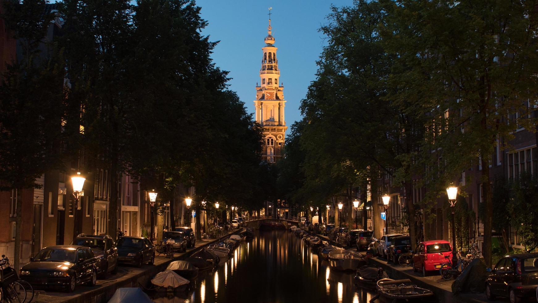 Amsterdam, Netherlands, 2020 - View of the Zuiderkerk at night photo