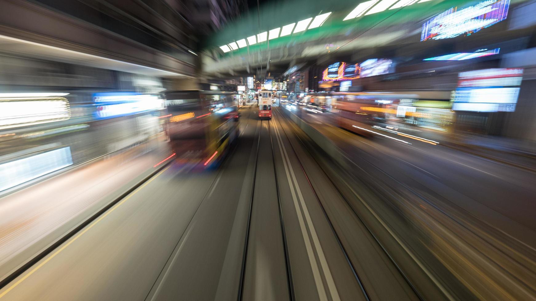Hong Kong, 2020 - Long-exposure of vehicles on a street photo