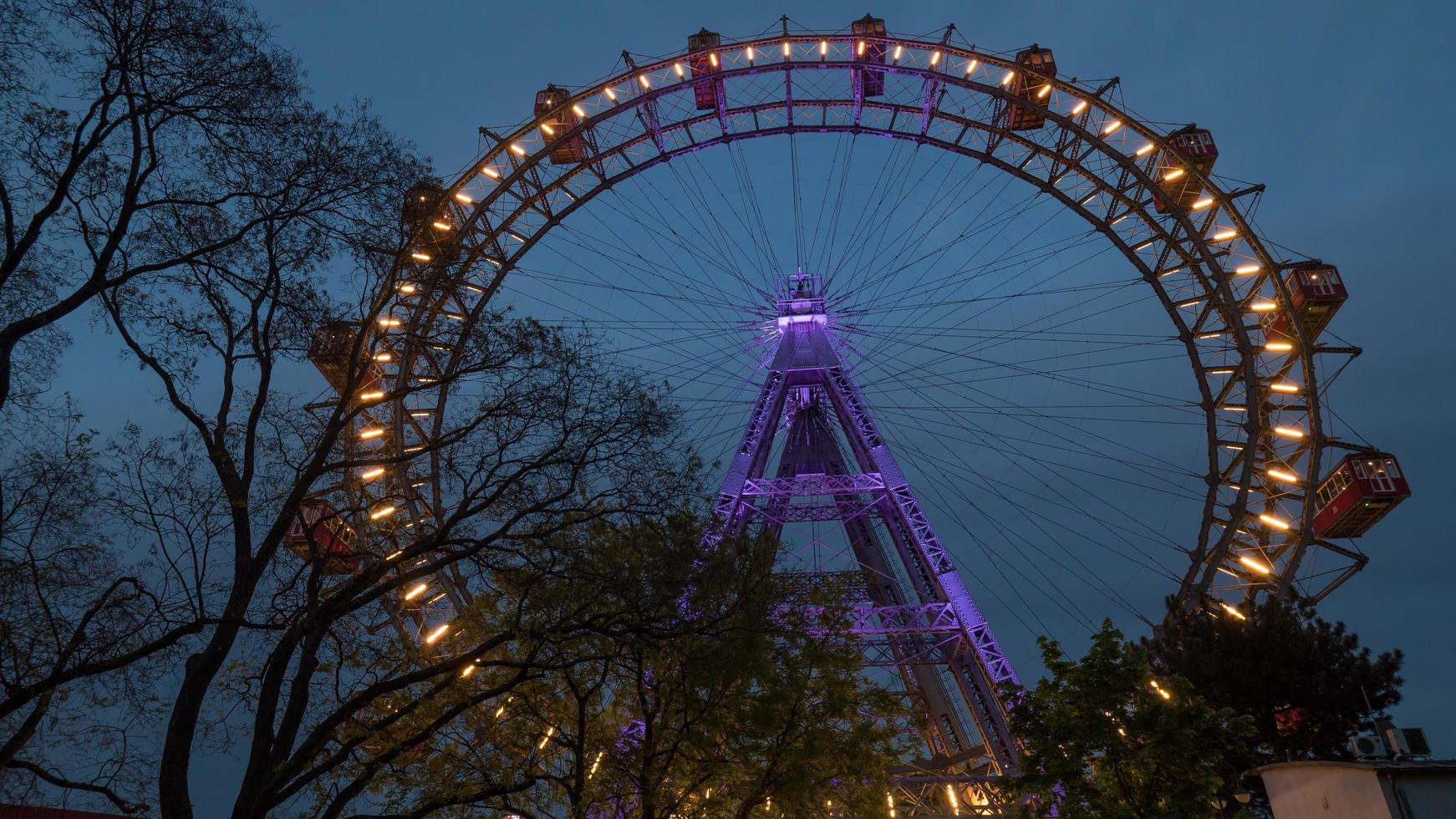 Vienna, Austria, 2020a - Giant Ferris wheel in the evening photo