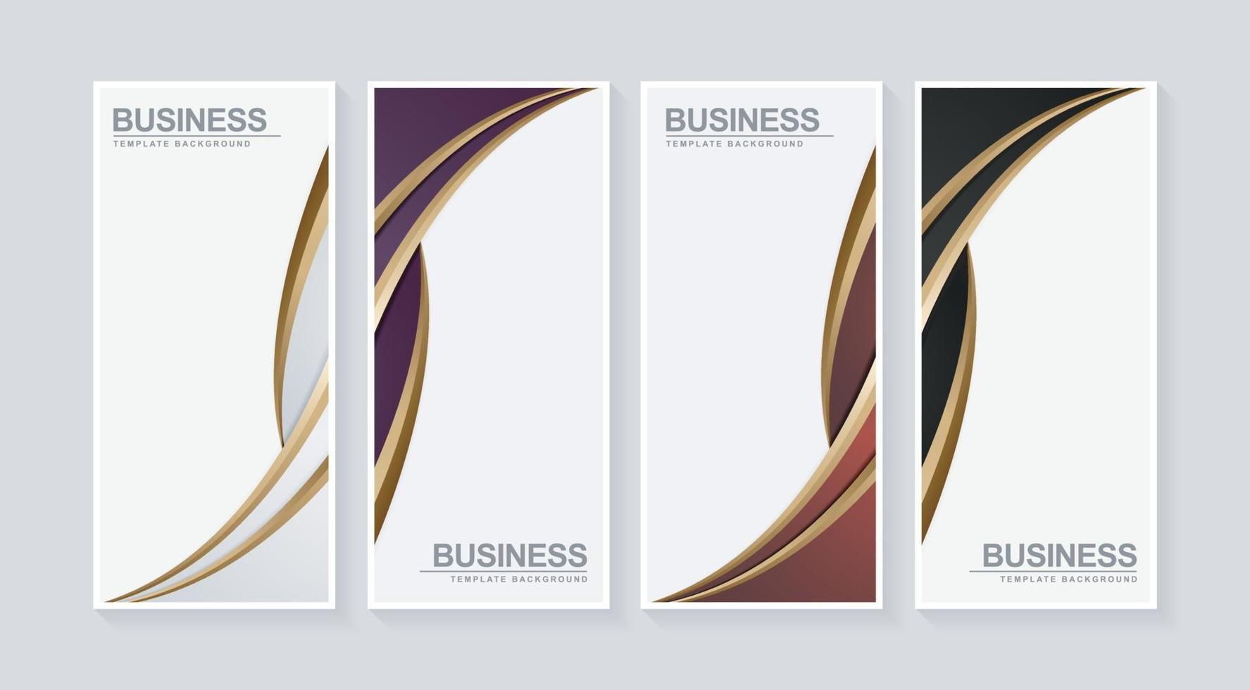 Luxury business vertical banner set in wave design vector