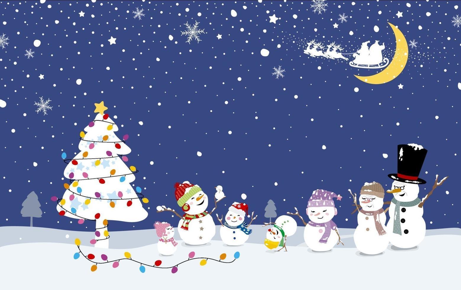 Diseño de tarjeta de Navidad de la familia de muñeco de nieve con árbol de Navidad en la ilustración de vector de invierno
