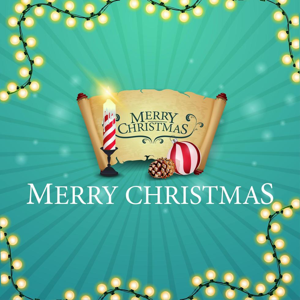 Merry Christmas, square postcard with gift with Christmas candle, old parchment, Christmas ball and cone vector