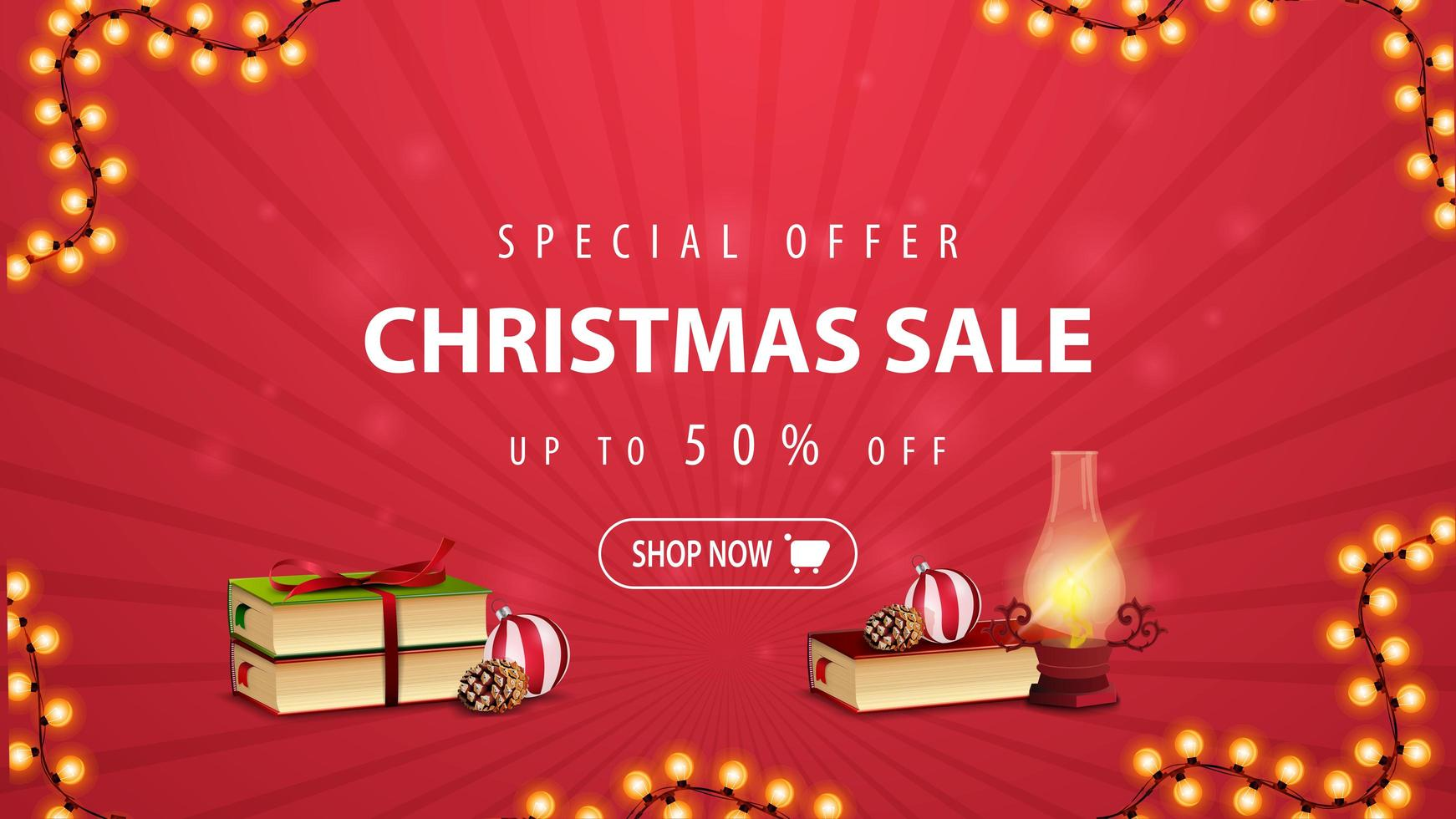 Special offer, Christmas sale, up to 50 off, red discount banner with antique lamp, Christmas books, Christmas ball and cone vector