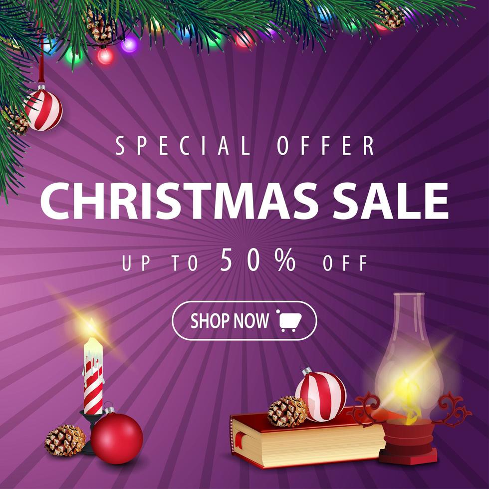 Special offer, Christmas sale, up to 50 off, square purple discount banner with garland, Christmas tree branch, Christmas candle, antique lamp, Christmas book, Christmas ball and cone vector