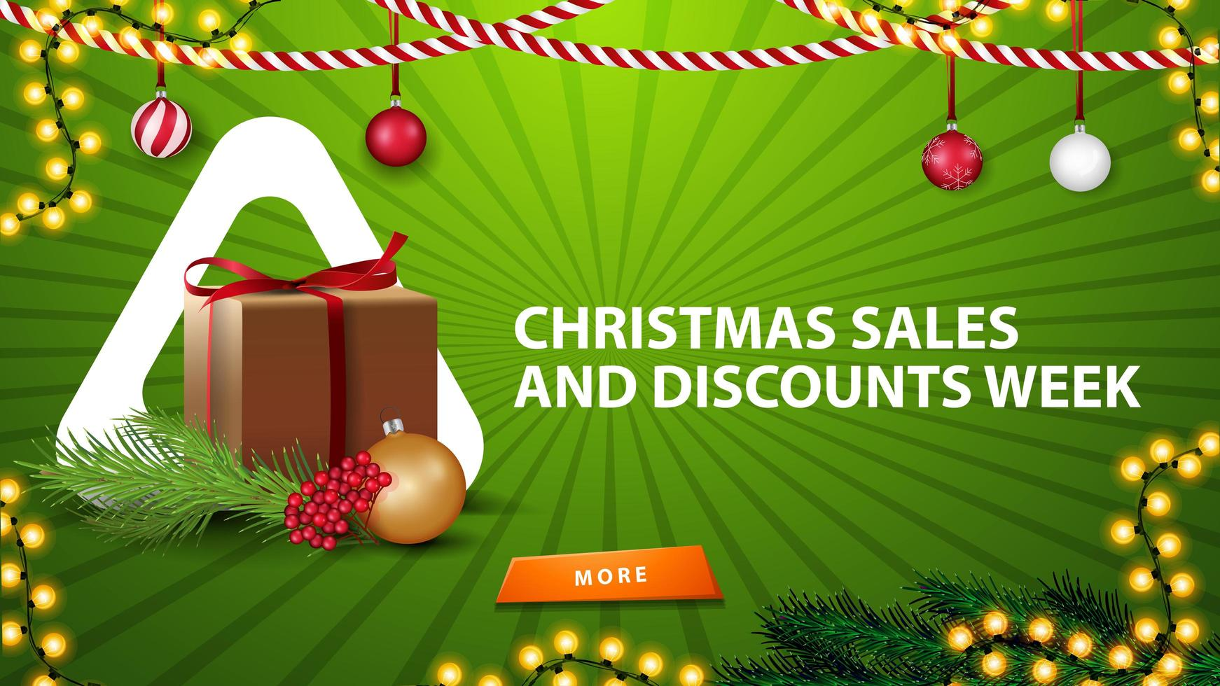 Christmas sales and discount week, green horizontal banner for website with Christmas decor, gift and Christmas tree branch vector