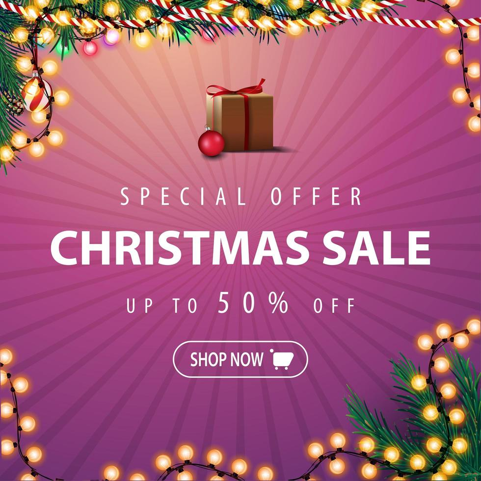 Special offer, Christmas sale, up to 50 off. Pink discount banner with Christmas tree branches and garland. vector
