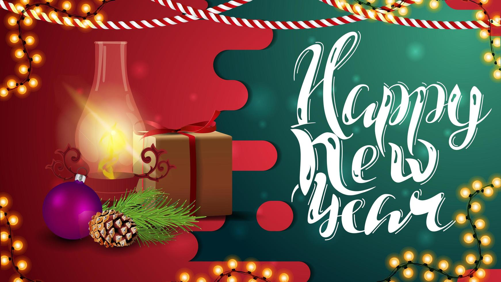 Happy New Year, red and green horizontal greeting card with gift, antique lamp, Christmas tree branch, cone and Christmas ball vector