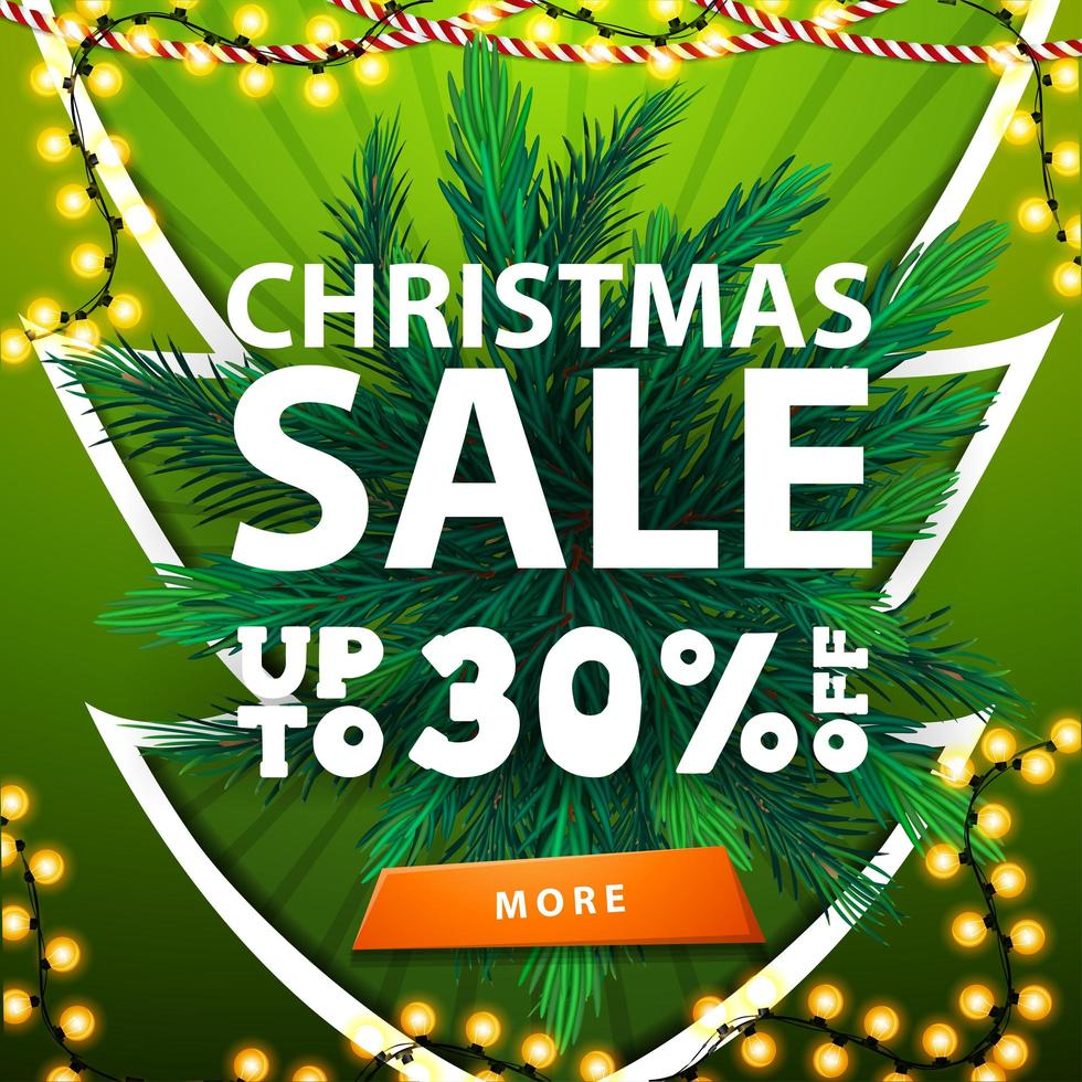 Green christmas sale banner with garland and Christmas tree branches vector