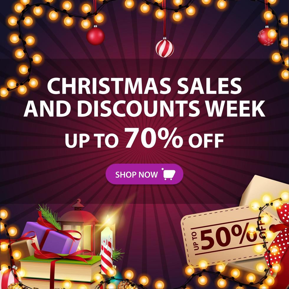 Christmas sales and discount week, up to 70 off, square red discount banner with presents and Christmas decor vector