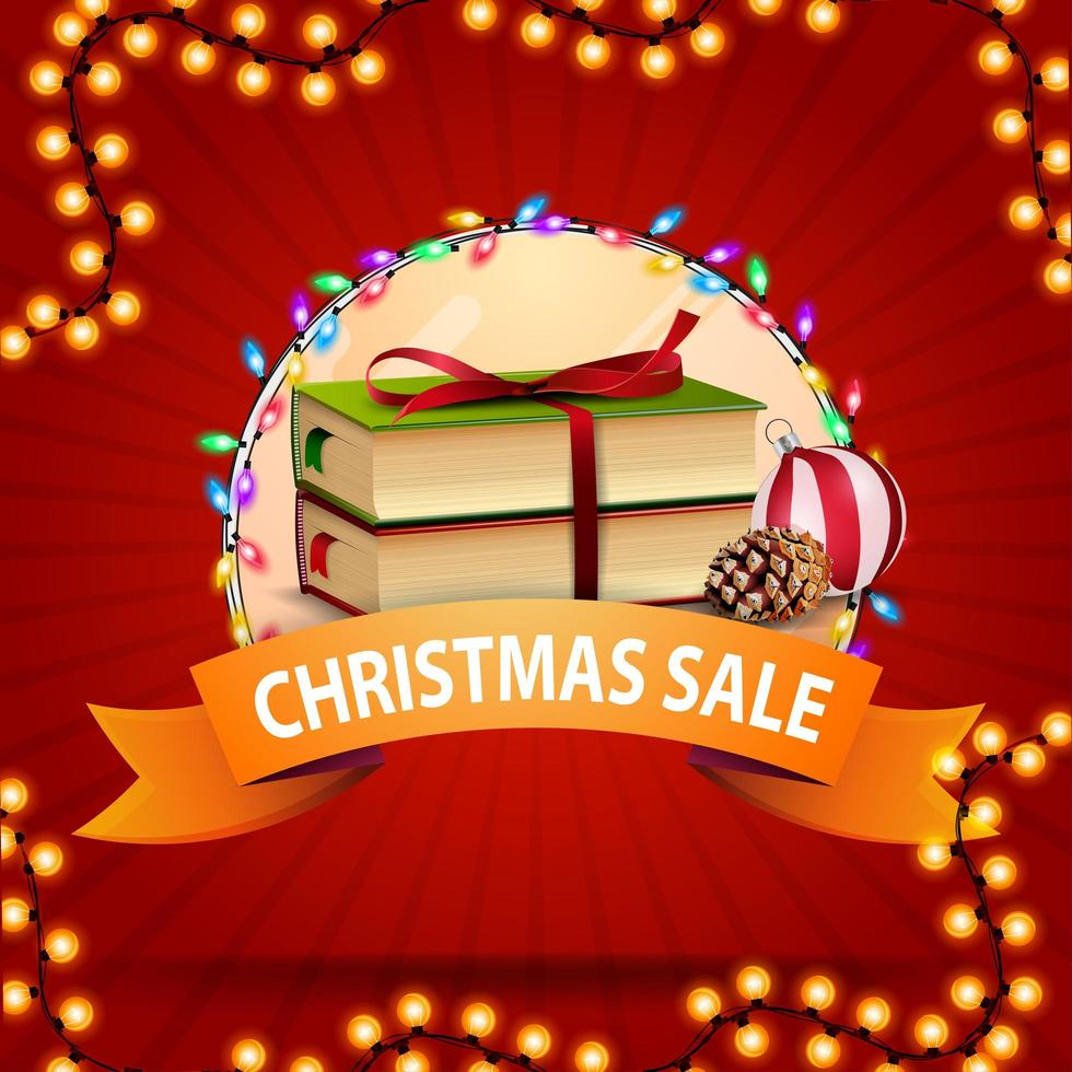 Christmas sale, round discount banner with ribbon, Christmas books, Christmas ball and cone vector