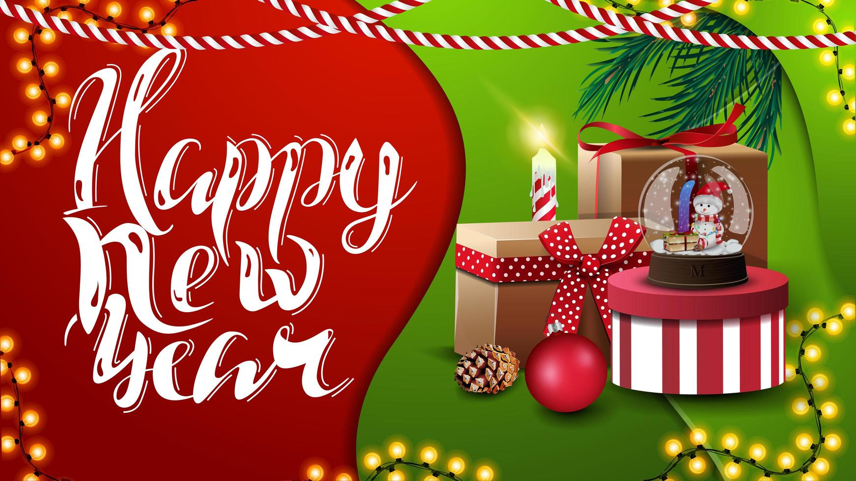 Happy New Year, greeting red and green postcard in material design style with Christmas presents vector