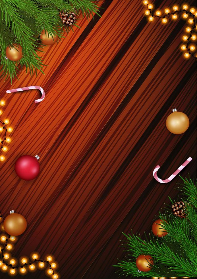 Christmas template for your arts with copy space, garland, Christmas tree branch and candy cane on the wooden background vector