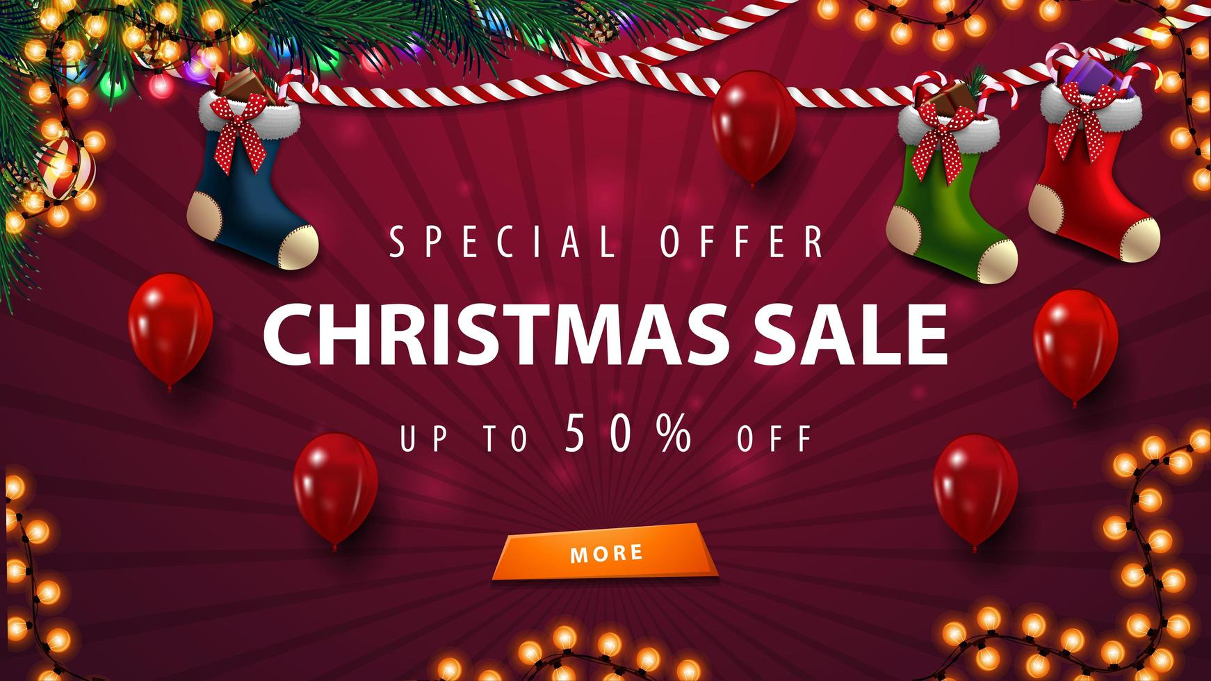 Red Christmas sale template with garland, balloons and Christmas stockings vector