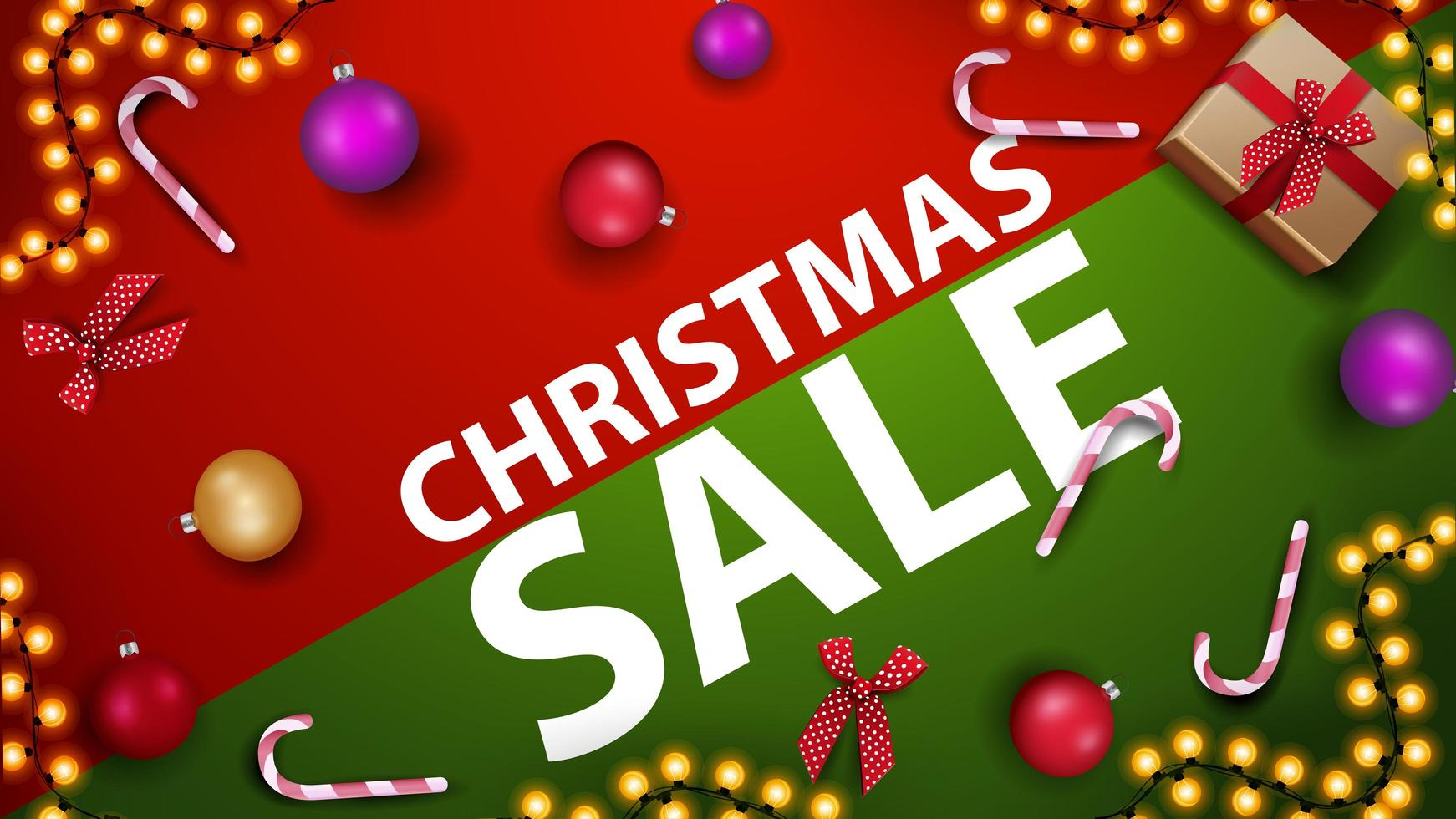 Christmas sale, modern red and green discount banner with candy cane, Christmas ball and garland on the table, top view vector