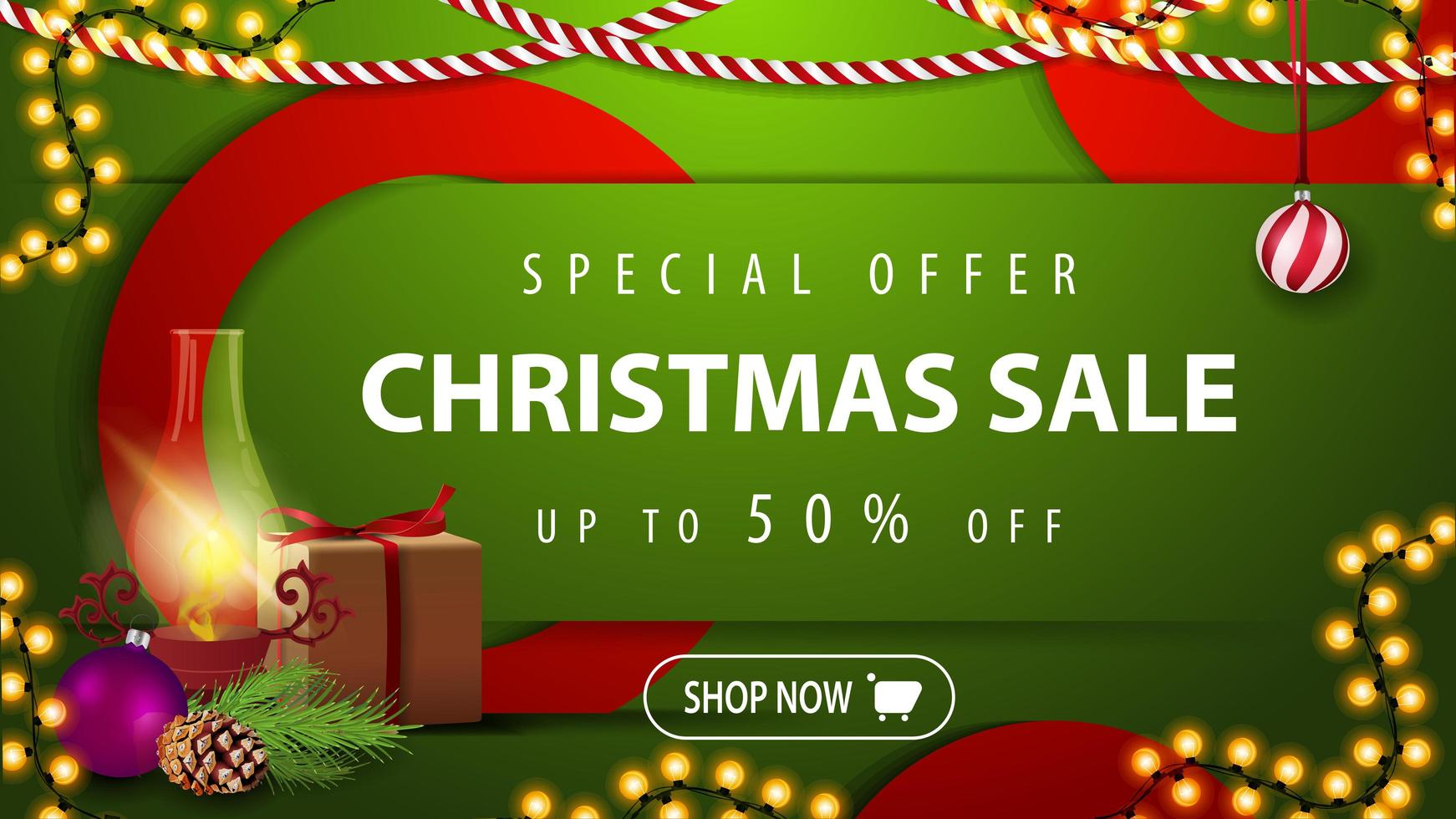 Christmas sale, up to 50 off, green bright horizontal modern web banner with button, gift, antique lamp, Christmas tree branch, cone, Christmas ball vector