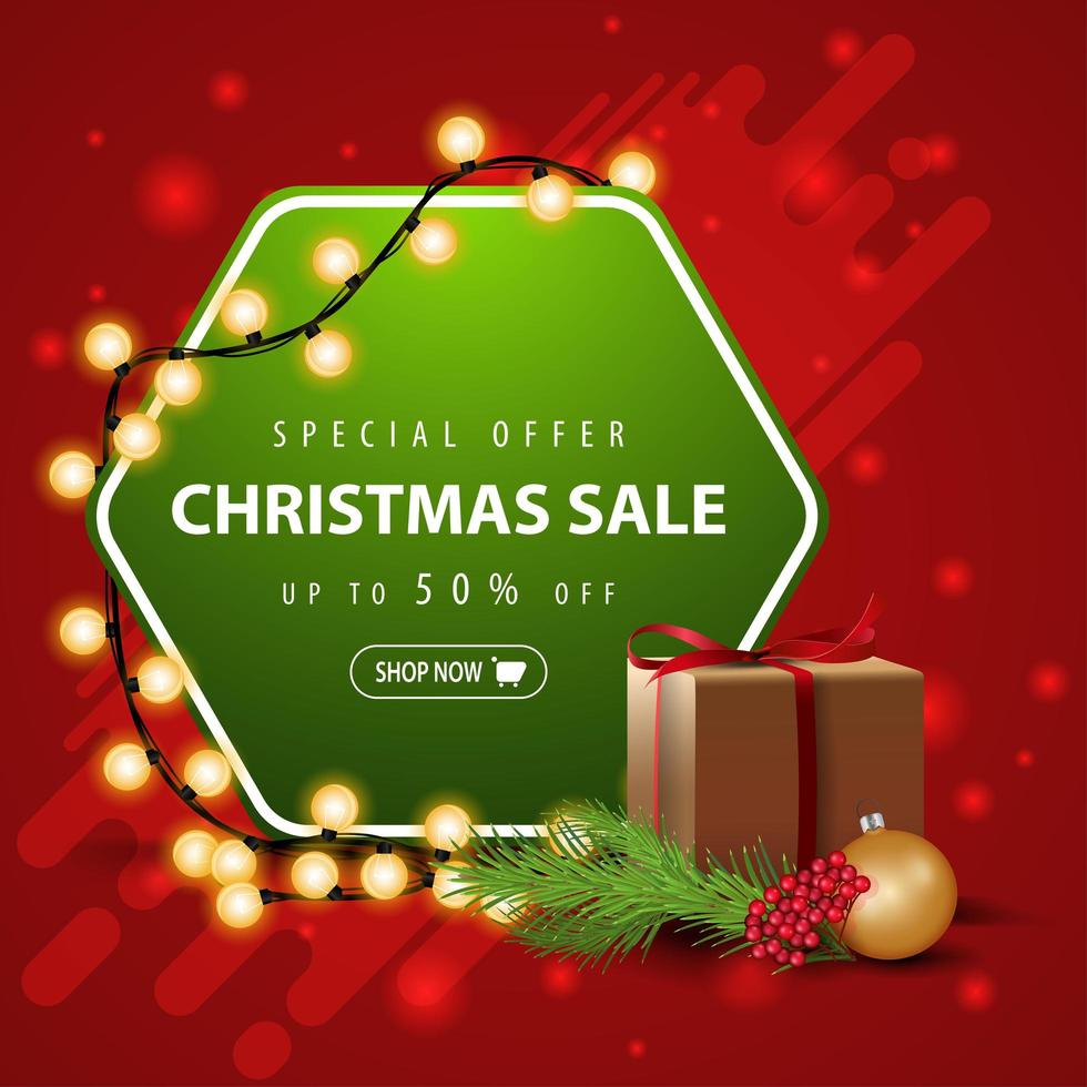 Special offer, Christmas sale, up to 50 off, square red and green banner with garland, gift and Christmas tree branch vector