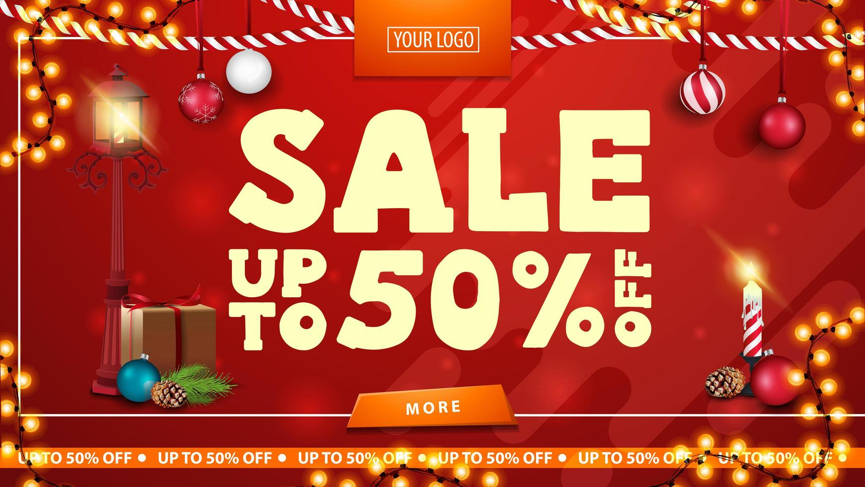 Christmas sale, up to 50 off, red bright horizontal modern web banner with button, pole lantern, gift, Christmas tree branch with a cone and a Christmas ball vector