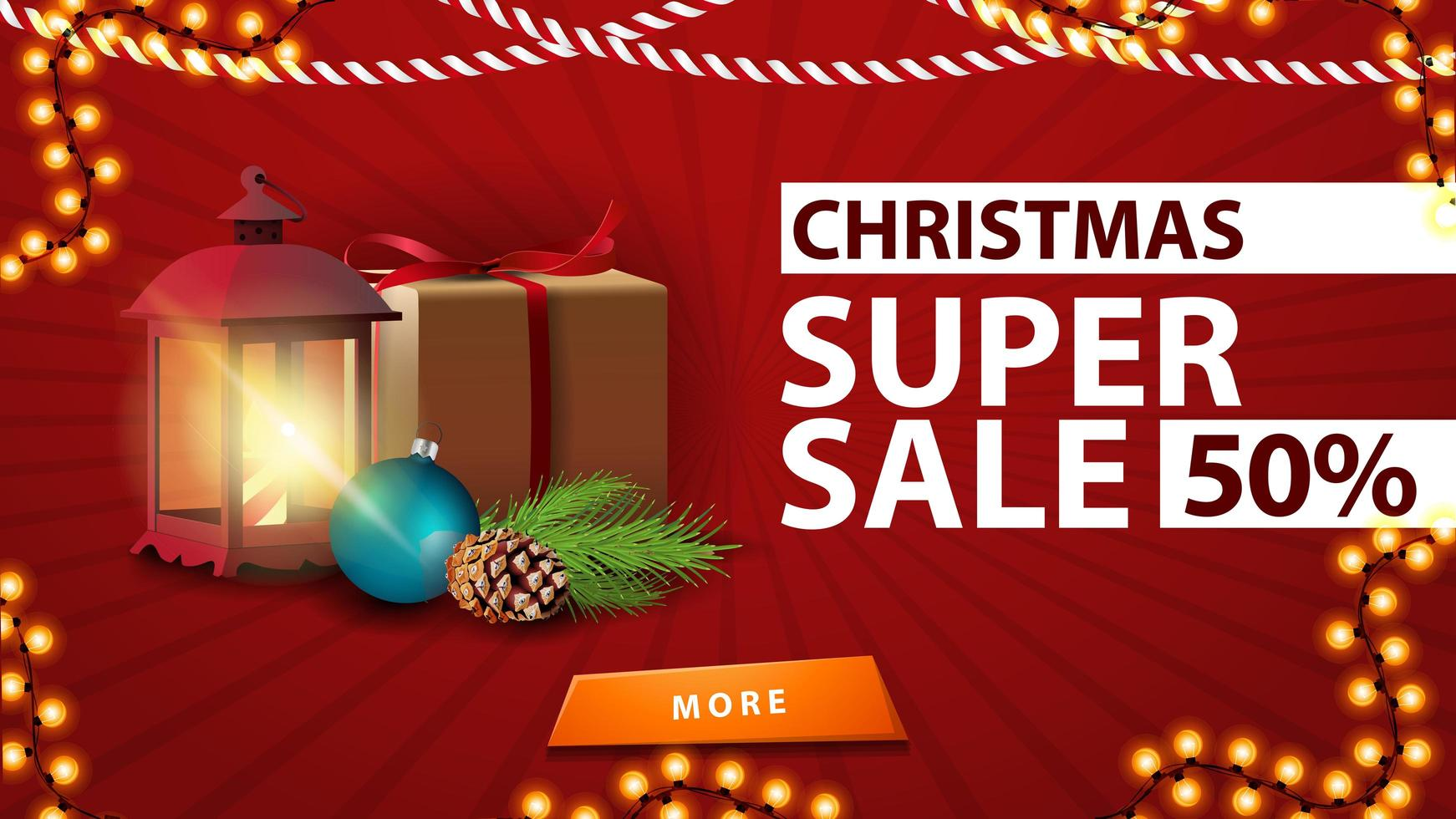 Christmas super sale, red discount banner with gift, antique lamp, Christmas tree branch, cone, Christmas ball vector