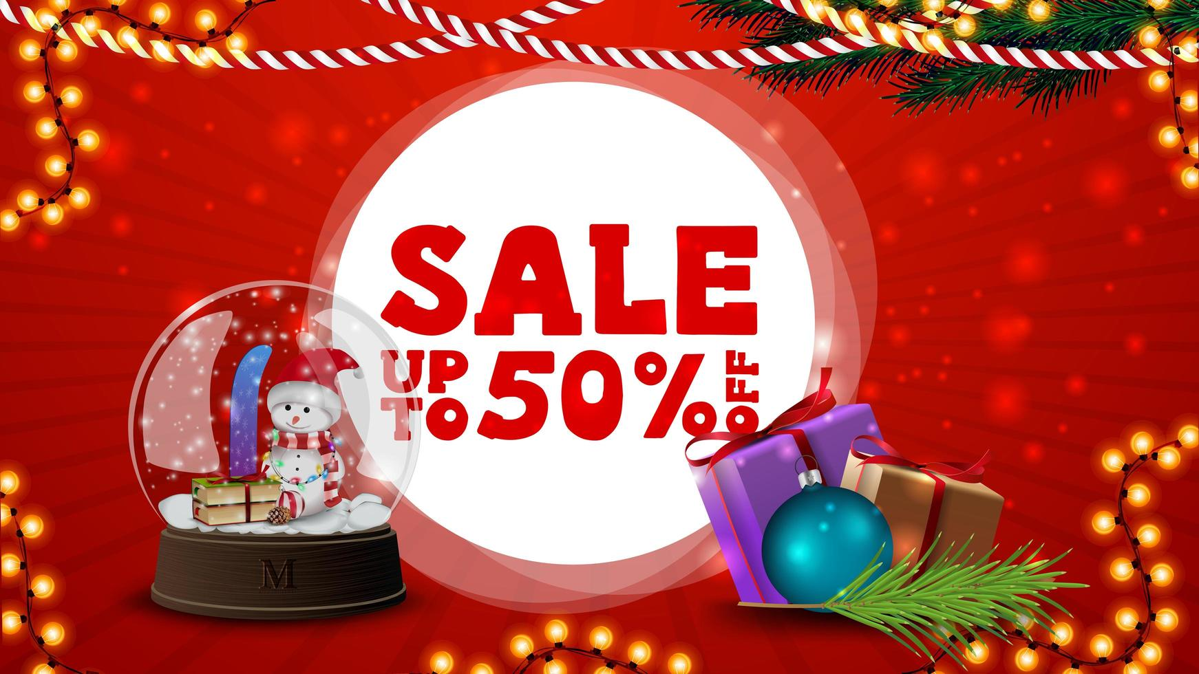 Christmas sale, up to 50 off, red discount banner for website with Christmas decor, presents and snow globe vector
