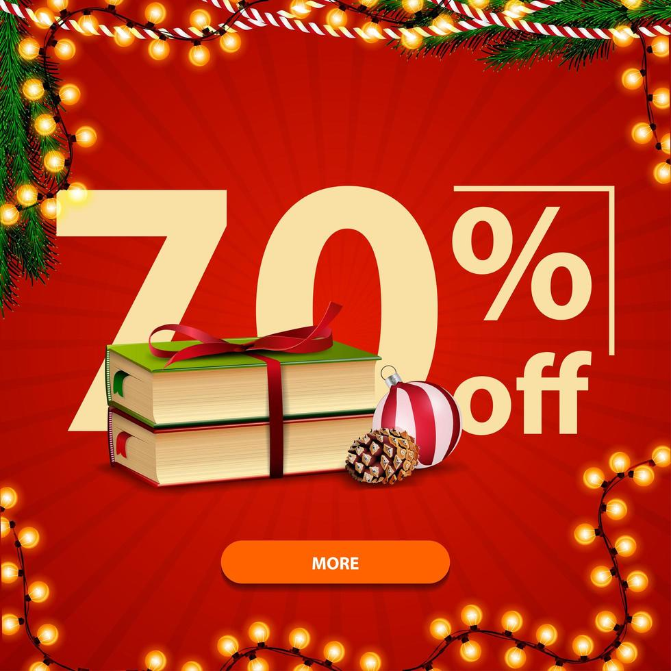 Christmas square red discount banner with Christmas books, Christmas ball and cone vector