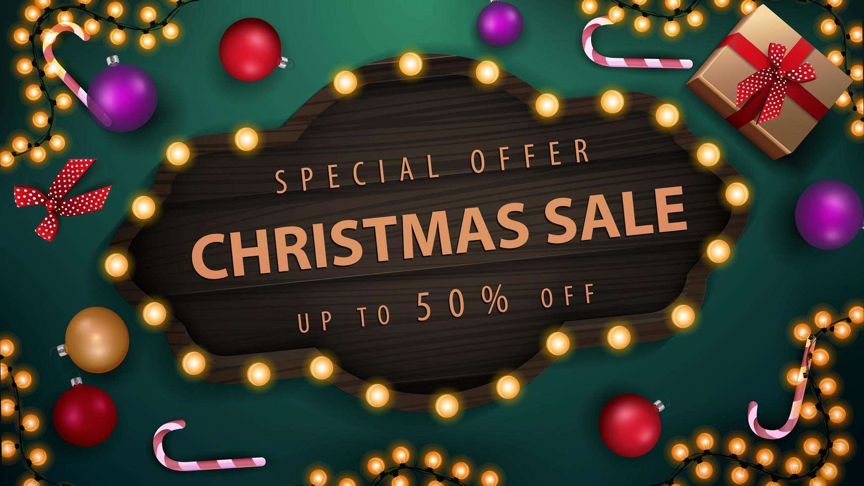 Special offer, Christmas sale, up to 50 off, green discount banner with Christmas balls, candy canes, garland and gifts, top view vector