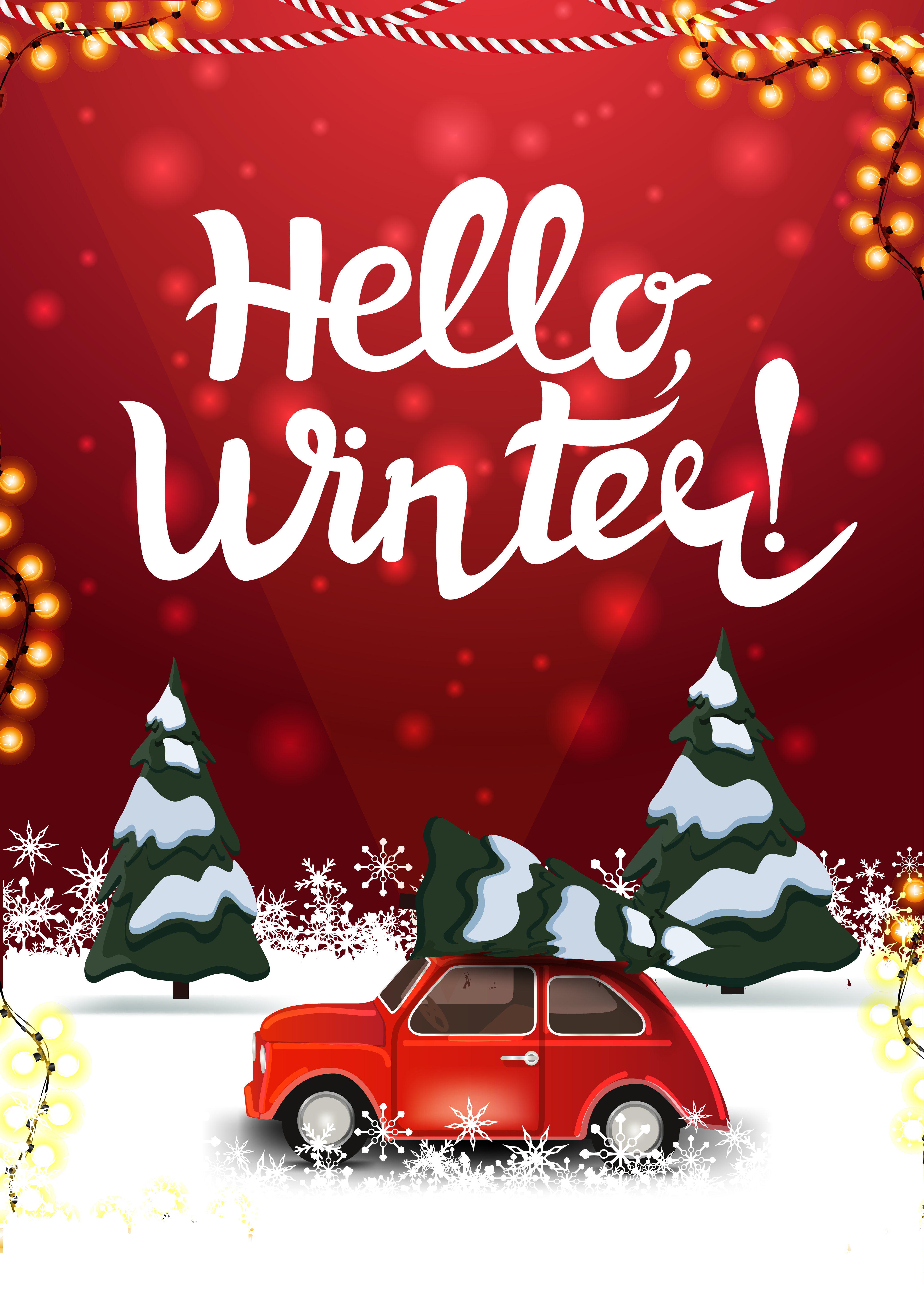 Hello Winter Red Postcard With Pine Winter Forest And Red Vintage Car Carrying Christmas Tree Download Free Vectors Clipart Graphics Vector Art
