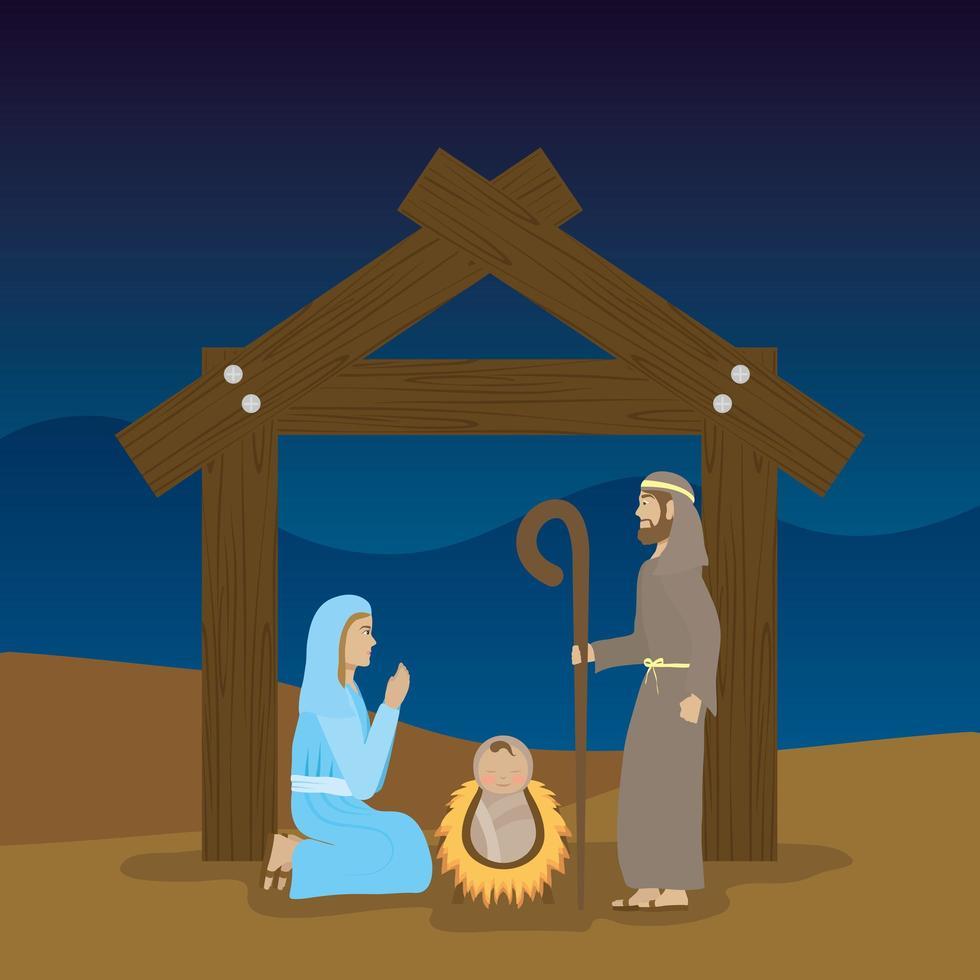 epifanía de jesús, sagrada familia en un pesebre vector