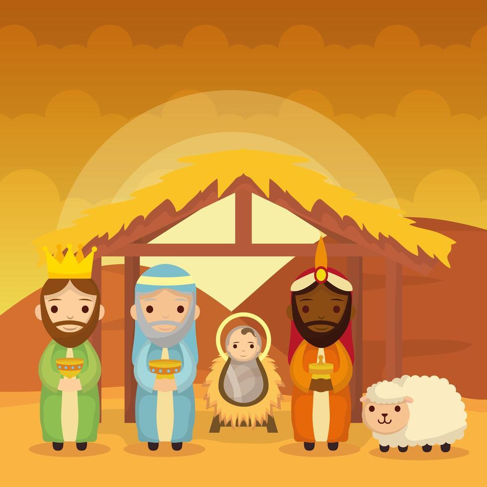 Epiphany of Jesus with magi bringing presents vector