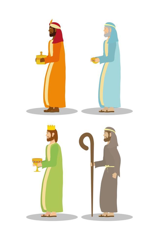 epifanía de jesús, conjunto de iconos de magos vector