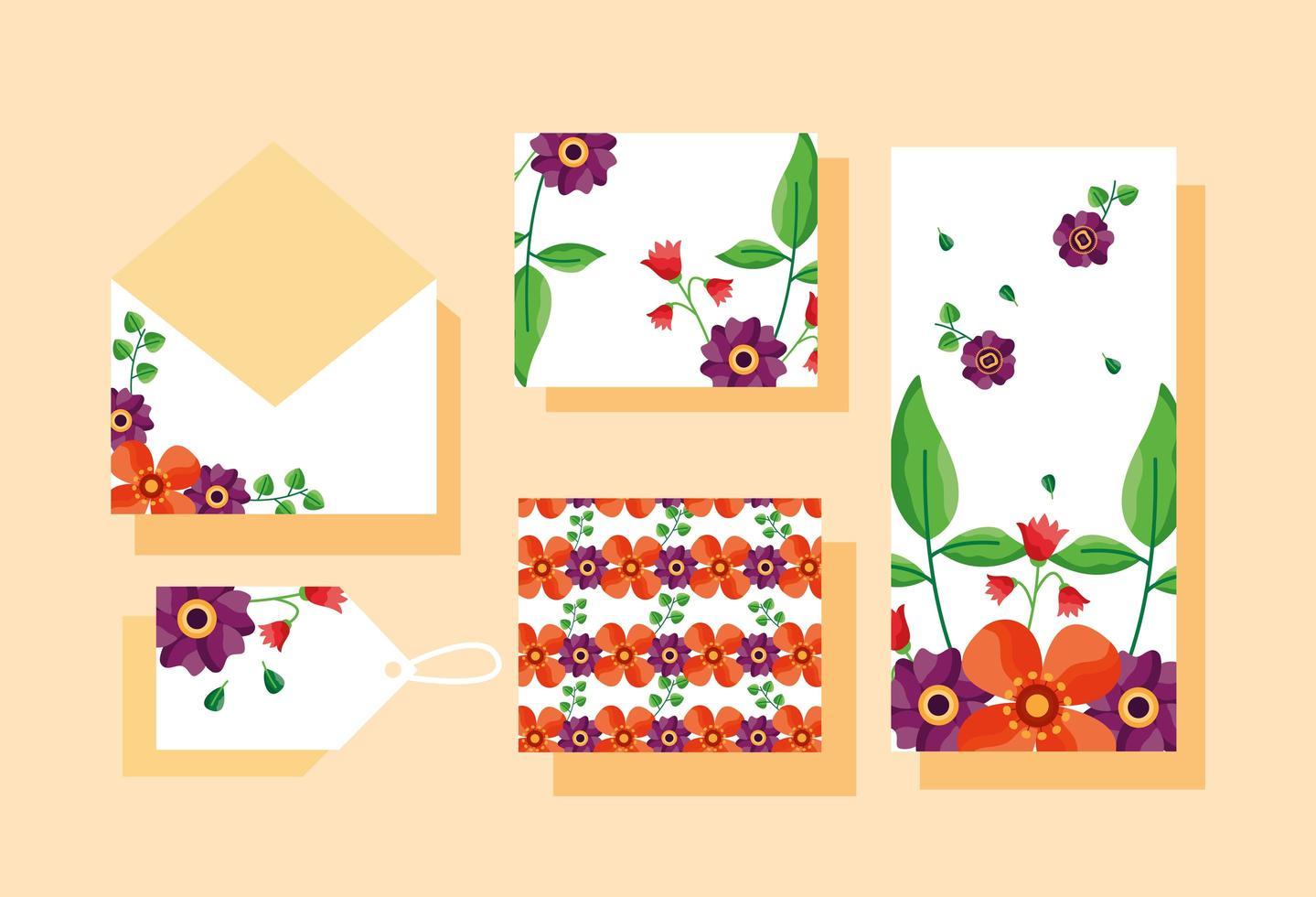guardar la fecha floral conjunto de boda vector
