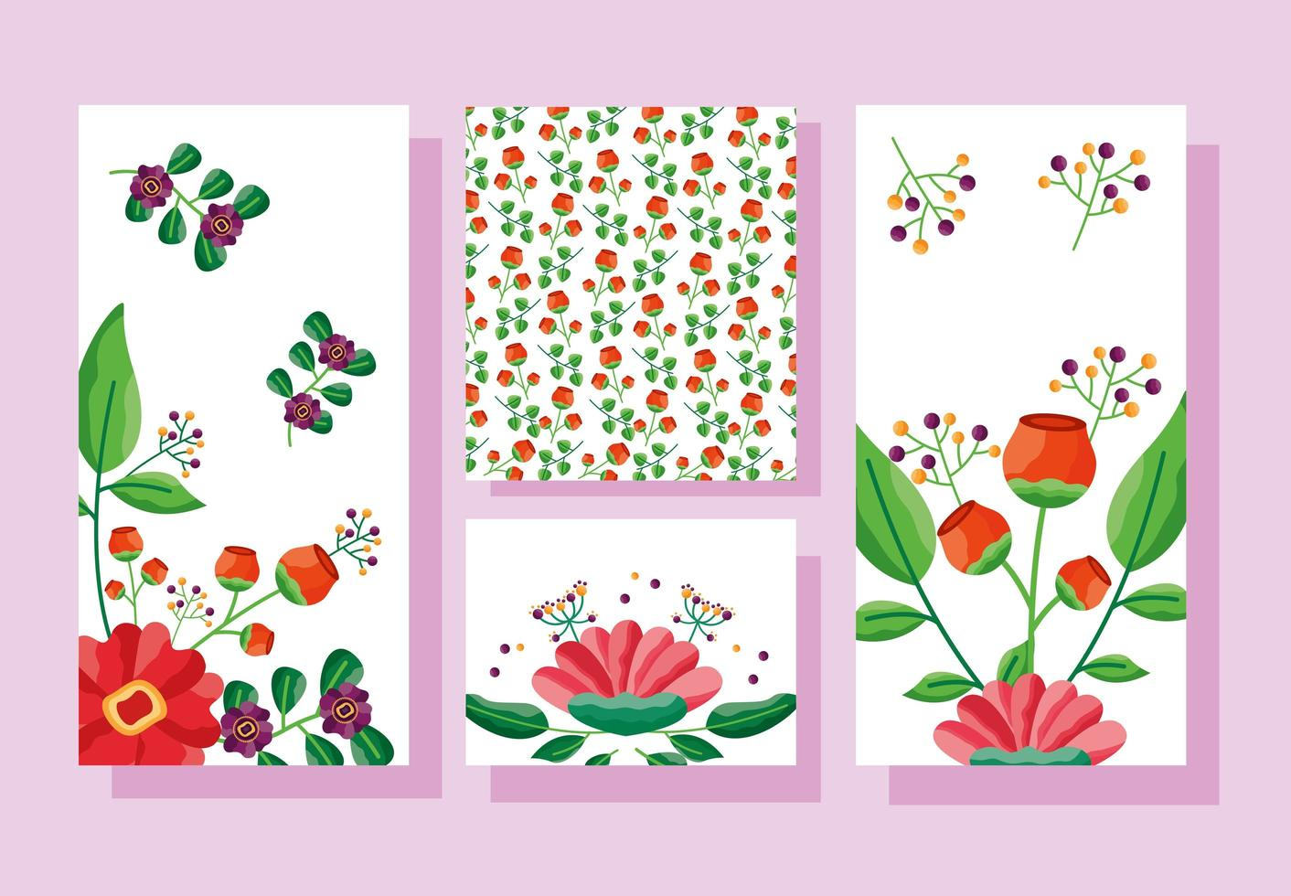 guardar la fecha floral conjunto de tarjetas de boda vector