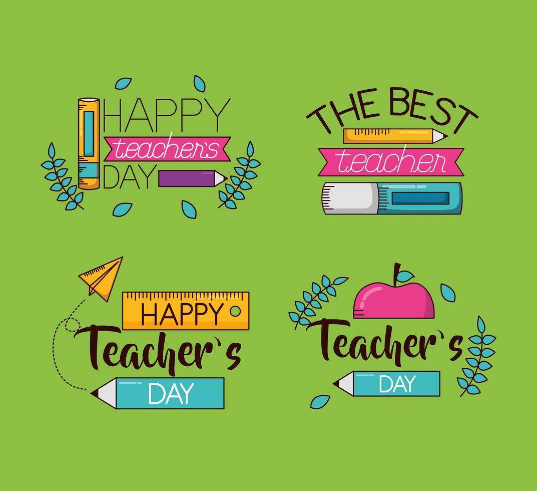 feliz día del maestro conjunto de diseño de celebración vector