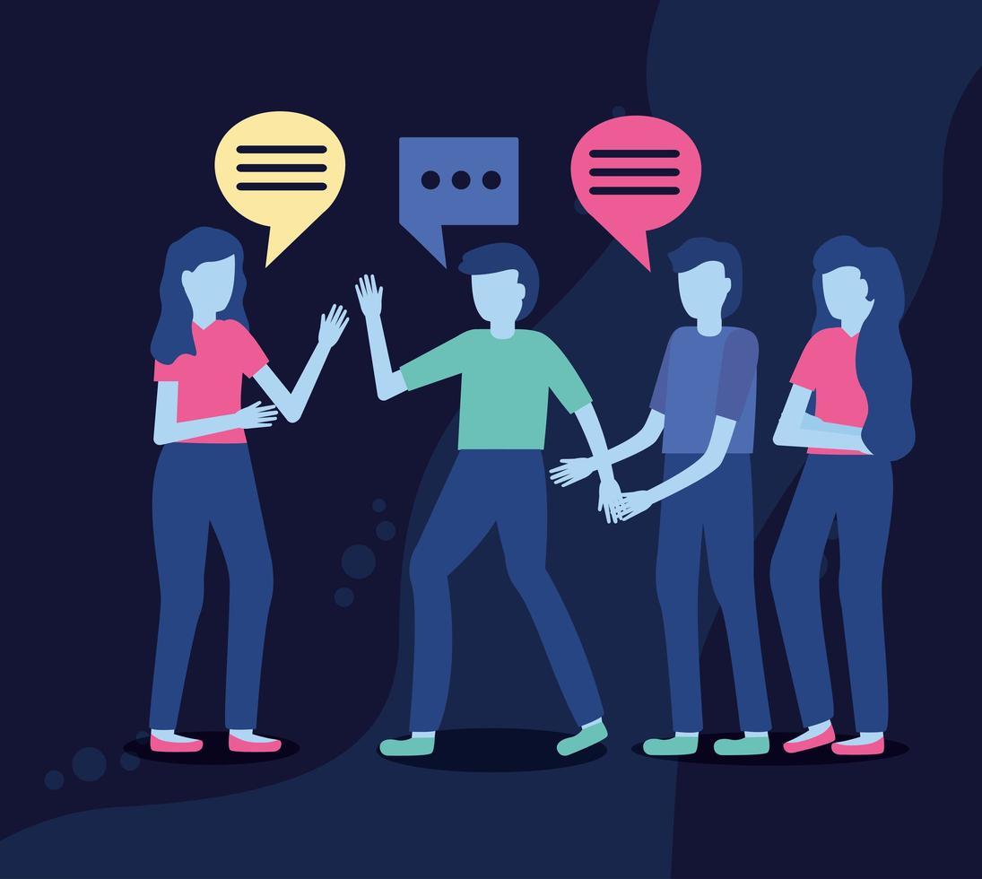 grupo de personas con burbujas de discurso vector