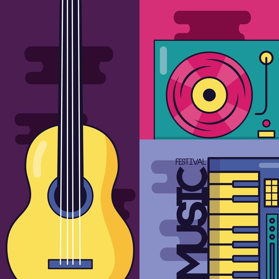 lindo cartel de festival de música con iconos pop vector