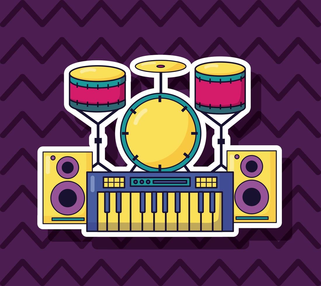 sintetizador, batería y altavoces para música de fondo colorido vector