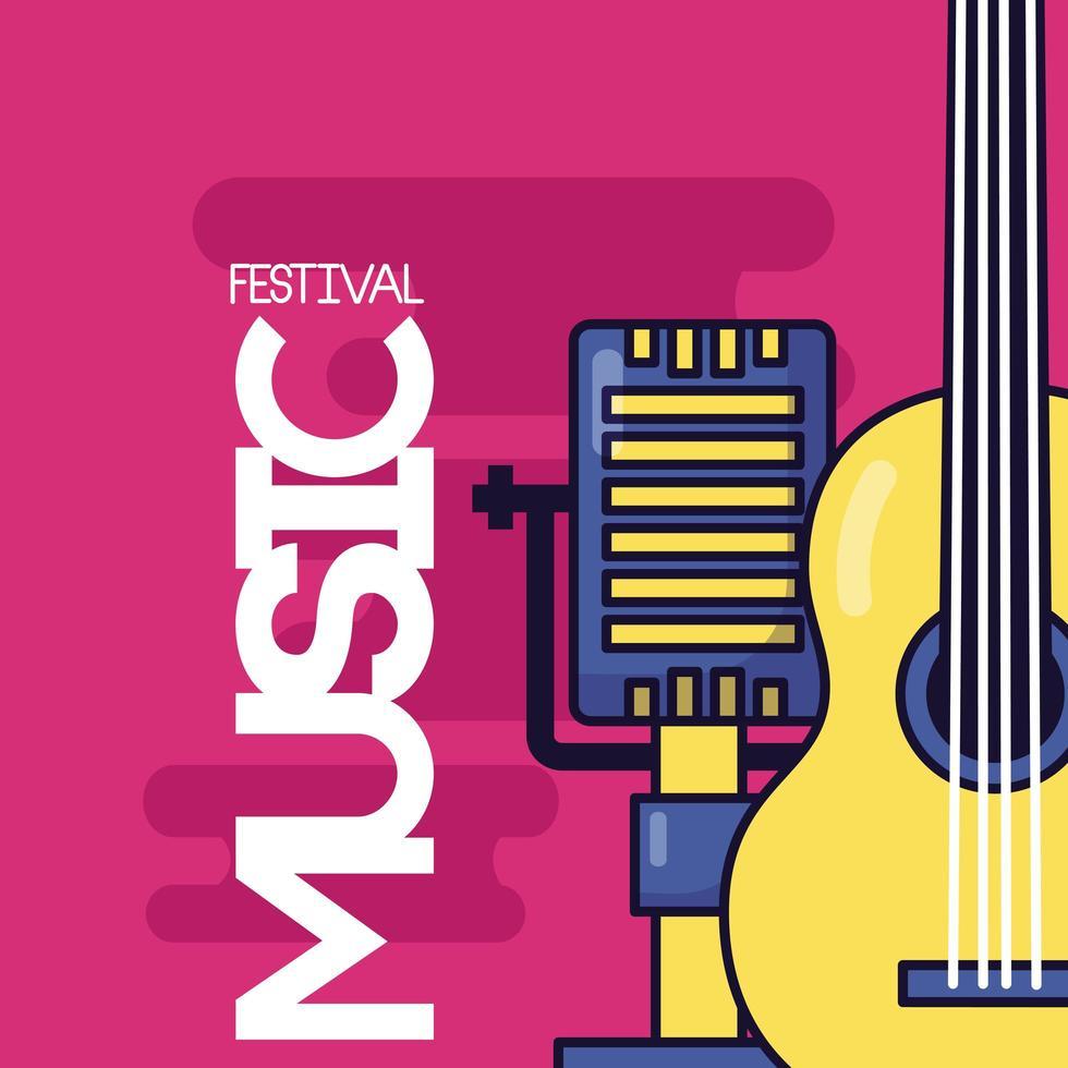lindo diseño de festival de música con iconos pop vector