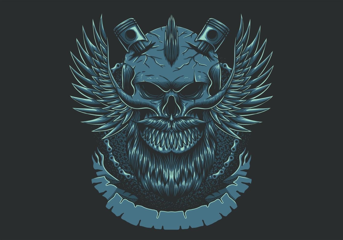 Ilustración de vector de club de motocicletas de ala de cráneo