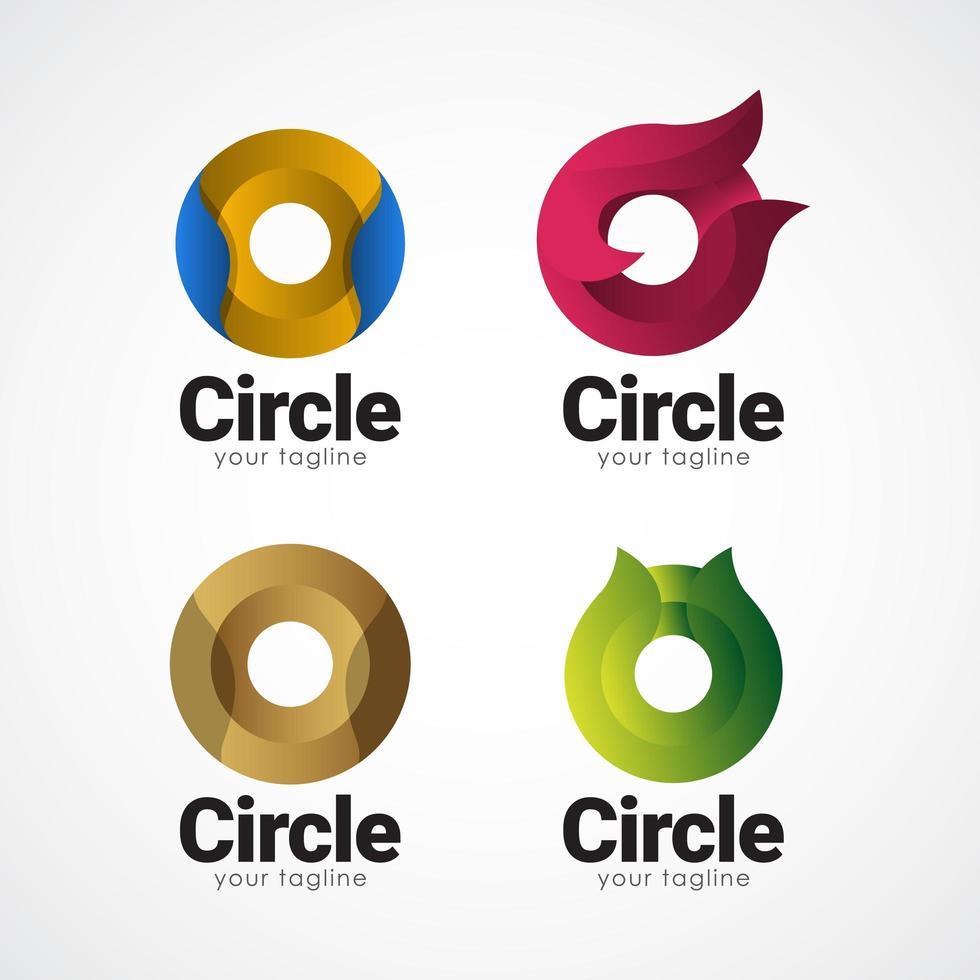 círculo logo gradiente vector plantilla diseño ilustración