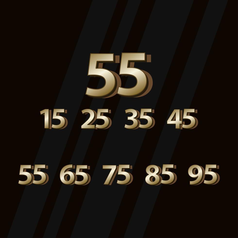 55 años aniversario oro elegante número vector plantilla diseño ilustración