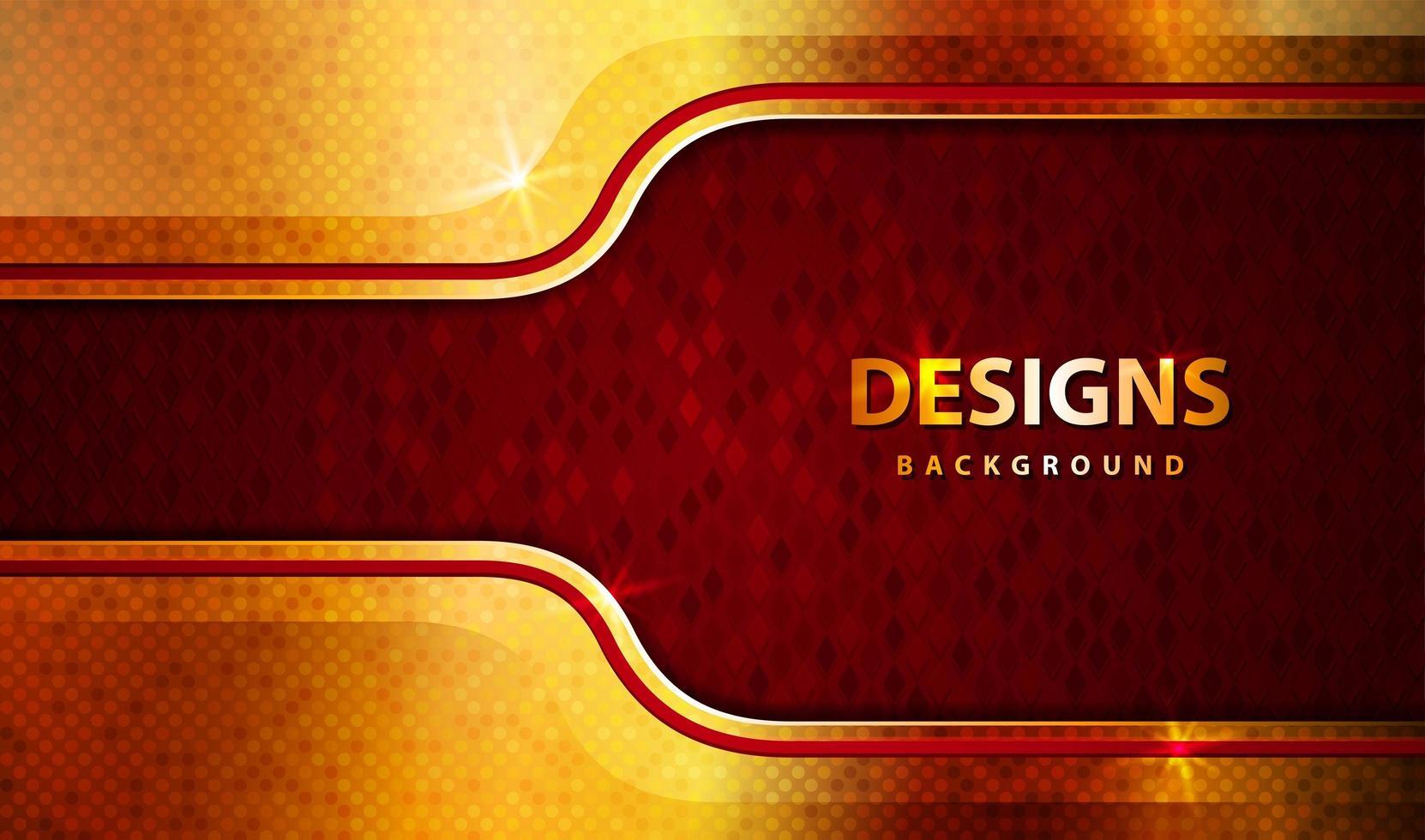 Banner dorado y rojo de lujo moderno con brillo. vector