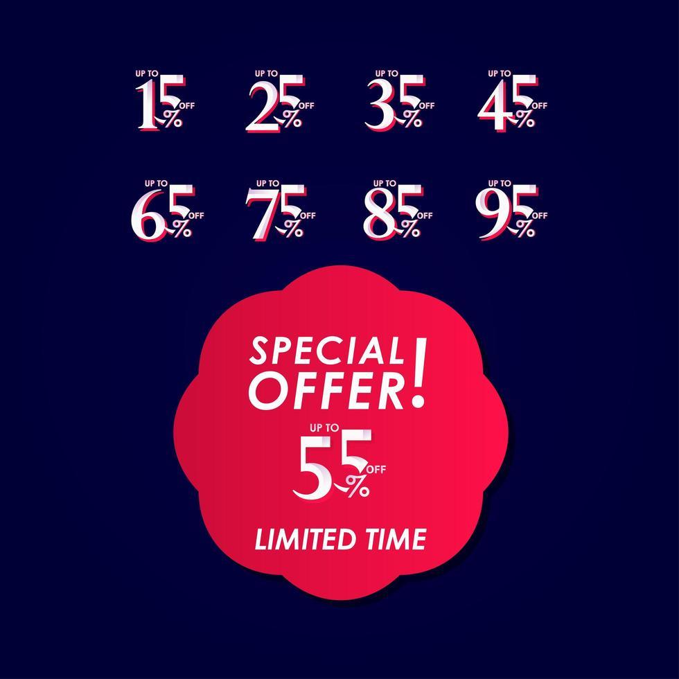 Oferta especial de descuento hasta 55 por ciento ilustración de diseño de plantilla de vector de etiqueta por tiempo limitado