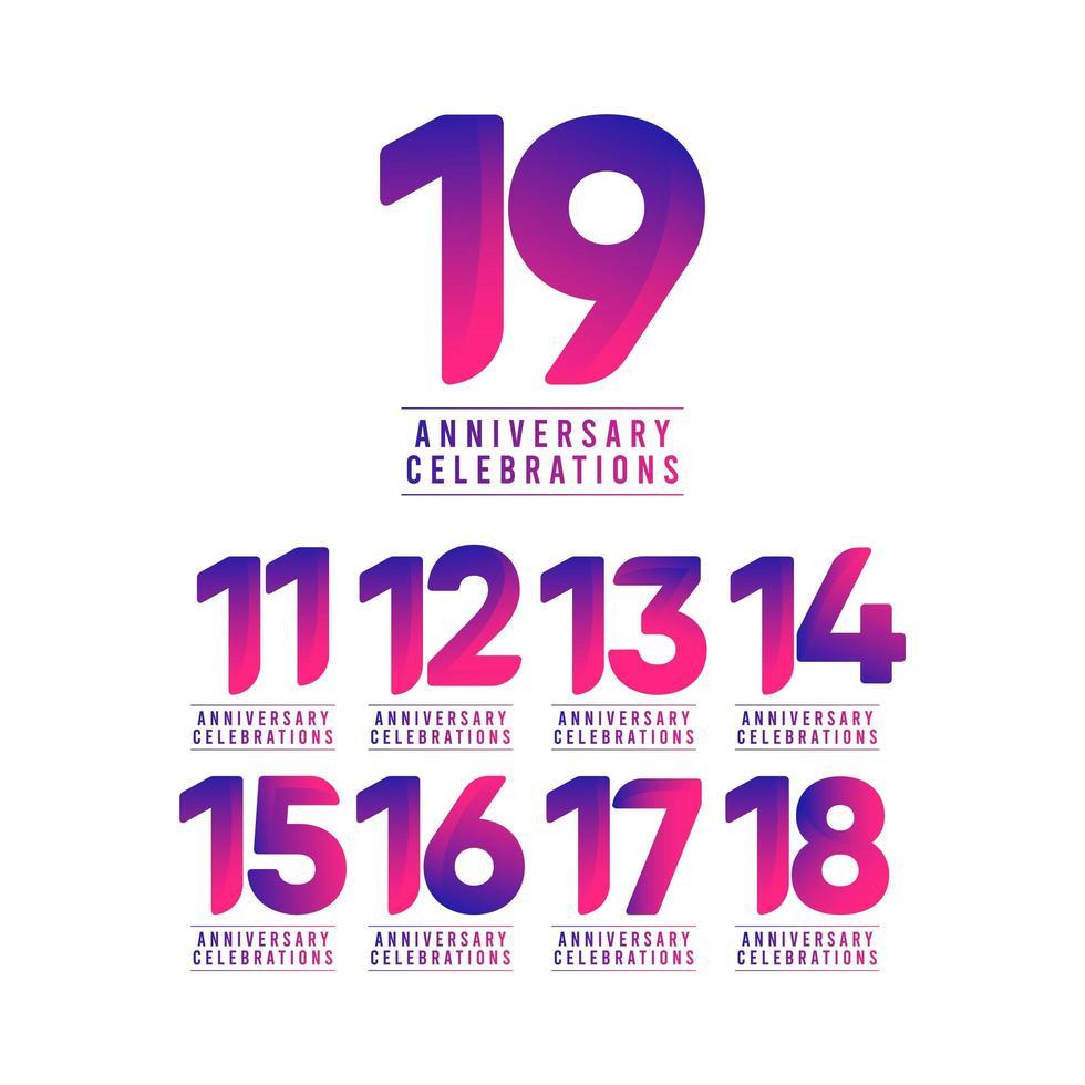 Ilustración de diseño de plantilla de vector de celebraciones de aniversario de 19 años